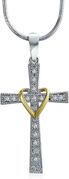 Sterling Silver Rhodium-Plated Horizontal Religious Cross Hook /& Eye Bangle Bracelet