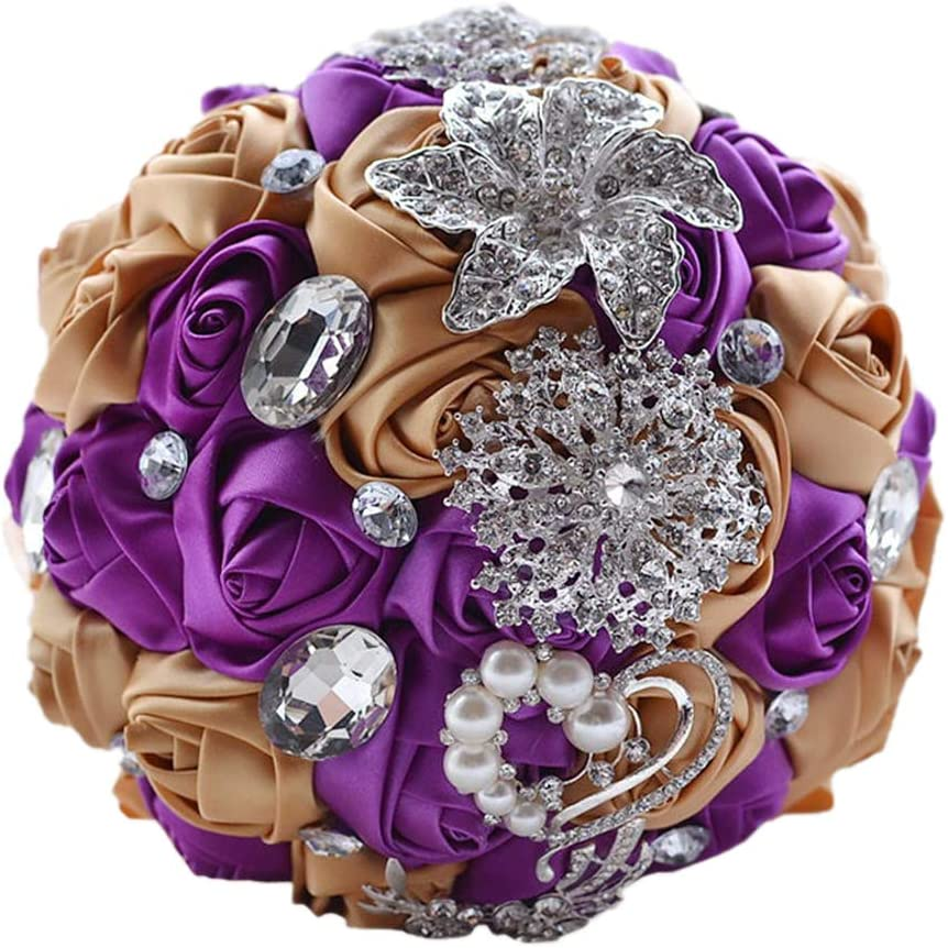 18x18x25cm Lumanuby A 1x Luxuri/ös Dreidimensional Satin Rose Blumenstr/äusse mit Verschieden Strass Blume Deko f/ür Hochzeit und Verlobung Flie/ßendes Satinband Bouquets Geschenk f/ür die Braut ca