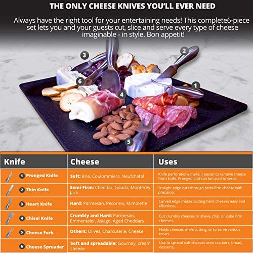 Stainless Steel Cheese Knife Set - 6-Piece Stainless Steel Cheese Knives With Cheese Slicer And Cheese Cutters