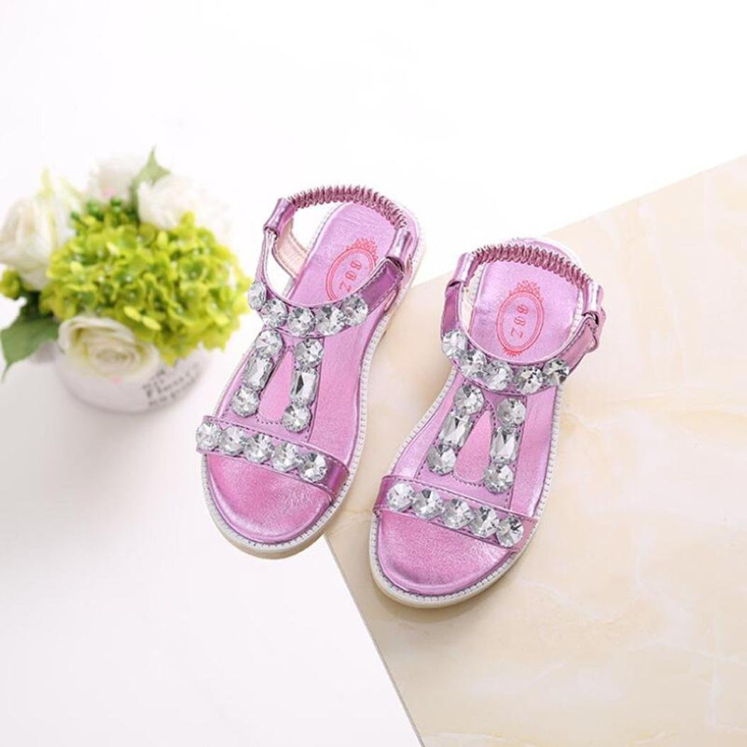 Sandalias romanas Beb/é Ni/ña Verano Zapatos planos Zapatillas de ni/ñas princesa Sandalias de playa Crystal Chicas /¡Verano caliente ❤️ Manadlian Plata, CN:36