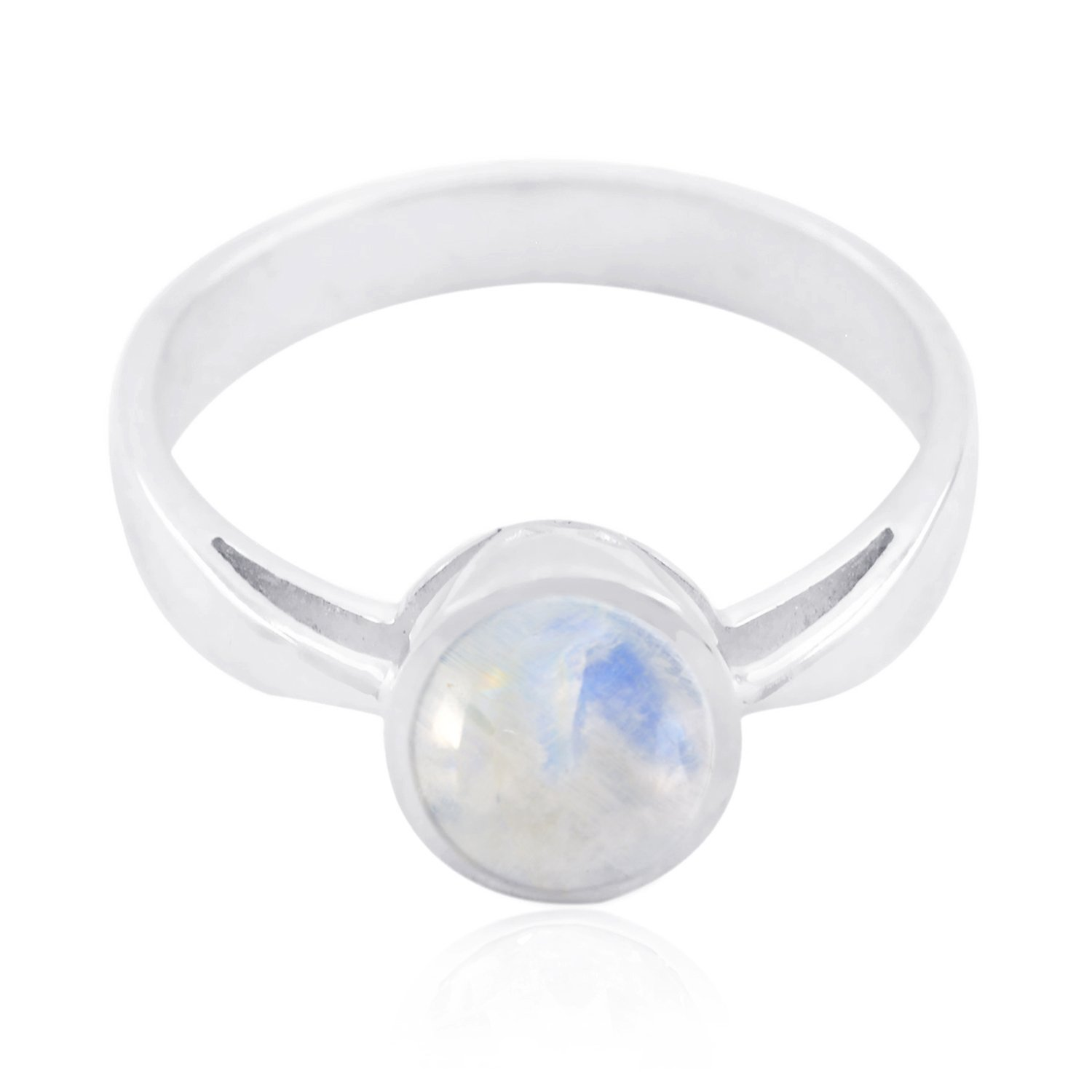 Exporter Jewellery Great Item Gift for Fathers Day Great Ring Good Gemstones Round cabochon Rainbow Moonstone Ring 925 Sterling Silver White Rainbow Moonstone Good Gemstones Ring
