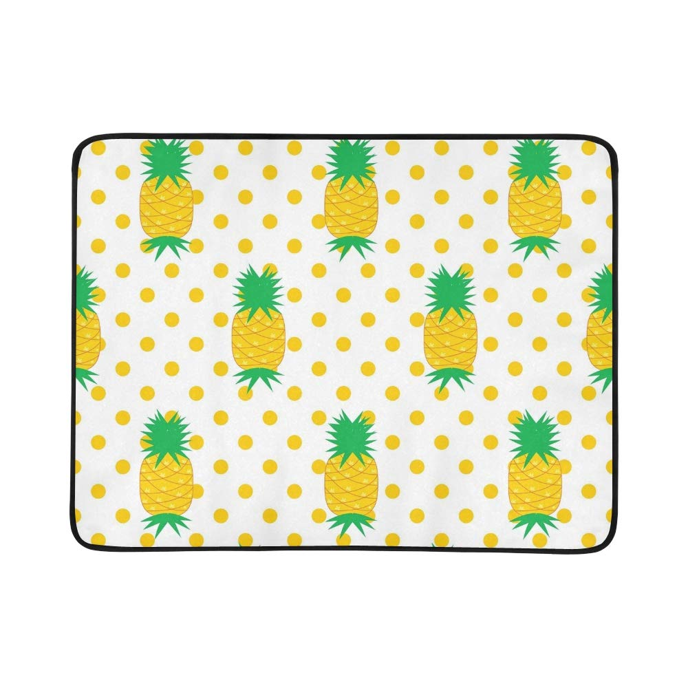 EIJODNL Pineapple On Grün Portable and Foldable Blanket Mat 60x78 Inch Handy Mat for Camping Picnic Beach Indoor Outdoor Travel B07MYMVS6N Picknickdecken Komfortabel und natürlich