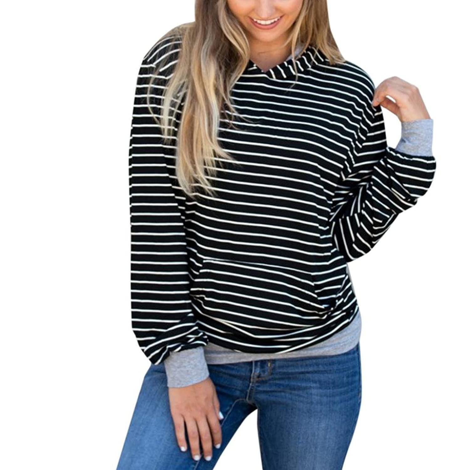 YUNY Womens Stripes Lounge Pullover Long Sleeve Hooded Plus-Size Outwear White M