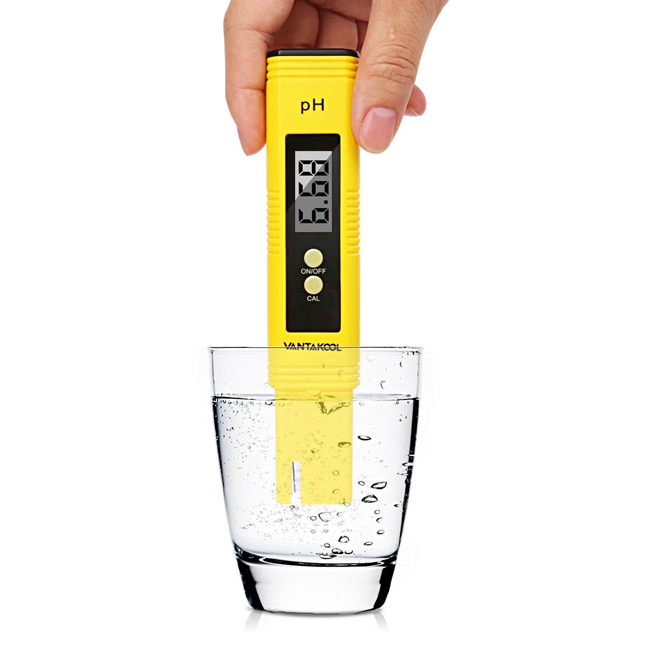 VANTAKOOL Digital PH Meter, 0.01 PH High Accuracy Water Quality Tester with 0-14 PH Measurement Range for Household Drinking, Pool and Aquarium Water PH Tester Design with ATC (yellow) by VantaKool (Image #1)