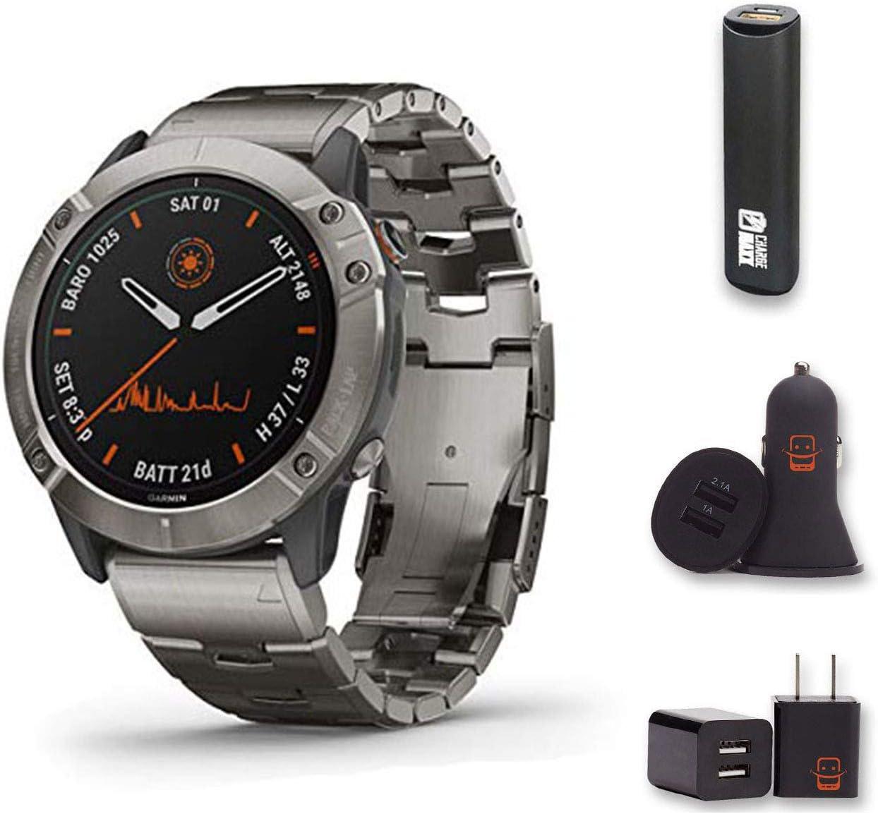 Garmin Fenix 6X Pro Solar - (Dary Gray w/Black Band) Bundle with PowerBank + USB Car Charger + USB Wall Charger (4 Items)