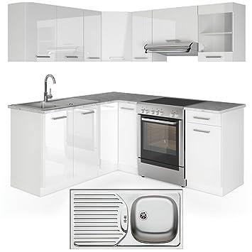 Vicco winkelküche inkl edelstahlspüle l form eckküche küchenzeile weiss hochglanz frei kombinierbare einheiten
