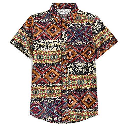 ZAFUL Men's Casual Ethnic Tribal Geometric Floral Paisley Print Short Sleeve Shirt (Wood, XL)