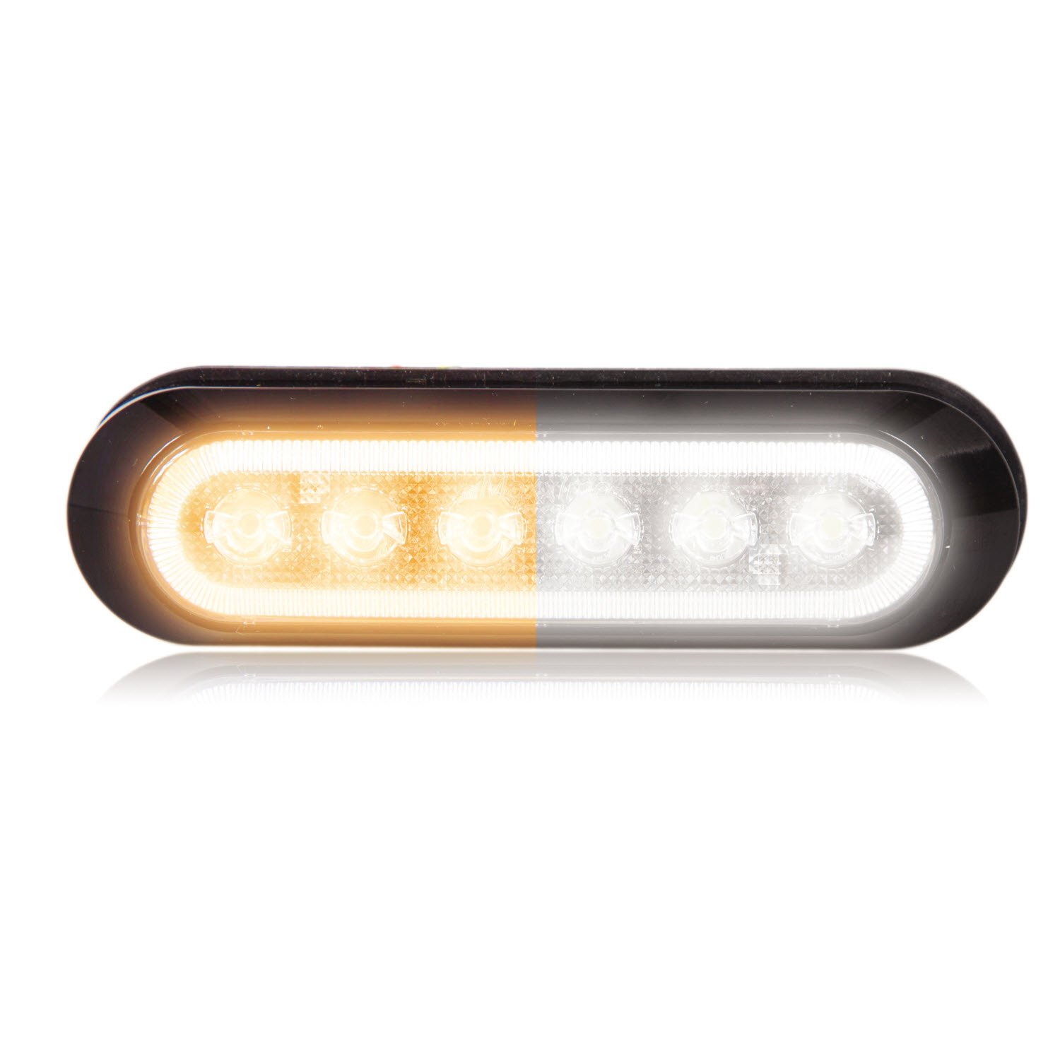 Maxxima M20386WYCL White/Amber Ultra Thin 6 LED Warning Strobe Light (Surface Mount with Clear Lens)