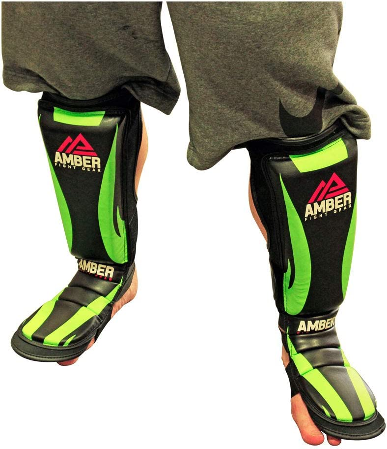 Amber Fight Gear Contender MMA Shin Guards and Instep Foam Leg Pads Muay Thai Foot Protective Gear Boxing Kickboxing Training Sparring Protector