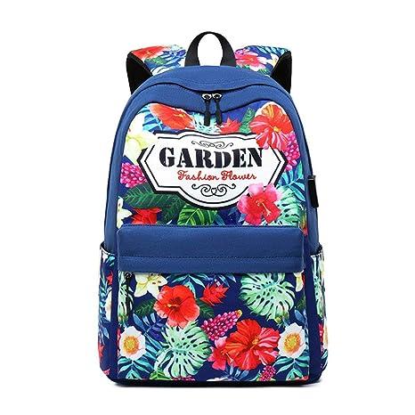 Egurs GirlS School Mochila de impresión de Gran Capacidad College Bookbag Mochila de Viaje 14 Pulgadas