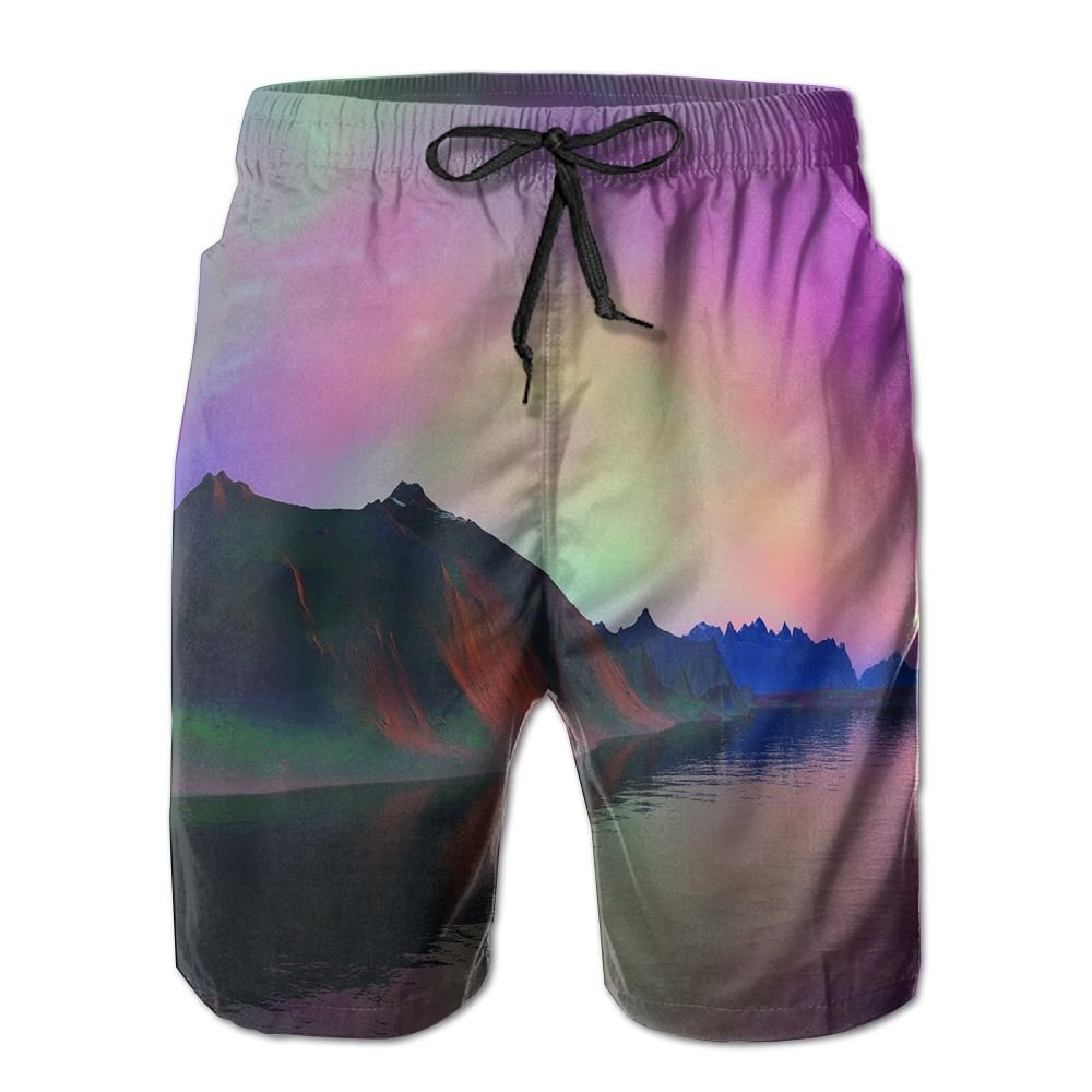 Tydo Psychedelic Space Mountain Lake Mens Beach Shorts Classic Surfing Trunks Surf Board Pants With Pockets For Men