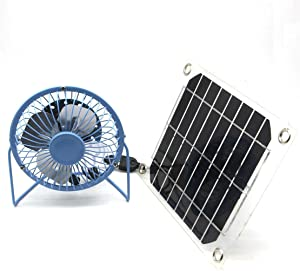 solar fan USB 5W Iron Fan 4Inch Cooling Ventilation Car Cooling Fan Blue