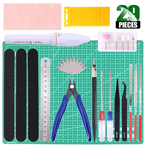 Keadic 29Pcs Gundam Modeler Basic Tools Craft Set with a Plastic Case and Bag for Hobby Model Assemble Building