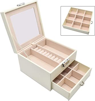 Mozing Jewelry Box For Women Double Layer And Removable Mirrored Necklace Jewelry Organizer With Lock For Earring Ring White Amazon Ca Home Kitchen