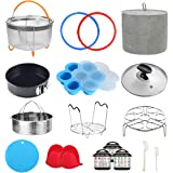 Pressure Cooker Accessories Compatible with Instant Pot 6 Qt - Steamer Basket, Cloth Cover, Glass Lid, Silicone Sealing Rings