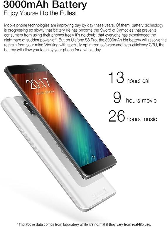 Ulefone S8 Pro - 5,3 Pulgadas Pantalla HD 0.5mm Bezel Android 7.0 4G Smartphone, cámara Triple (5MP + 5MP + 13MP), Quad Core 2GB RAM + 16GB ROM, GPS, Marco de Metal: Amazon.es: Electrónica