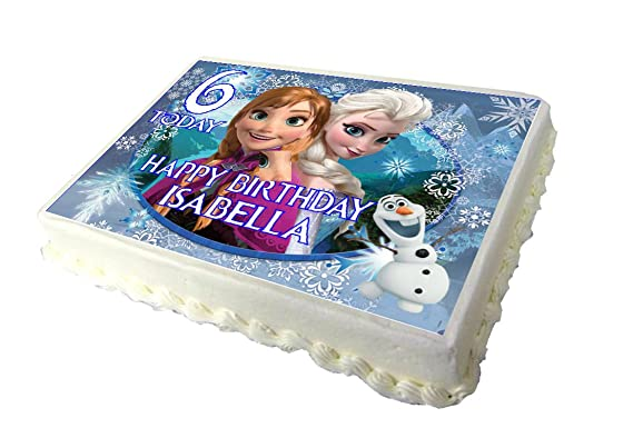 frozen edible a4 birthday cake topper amazon co uk grocery