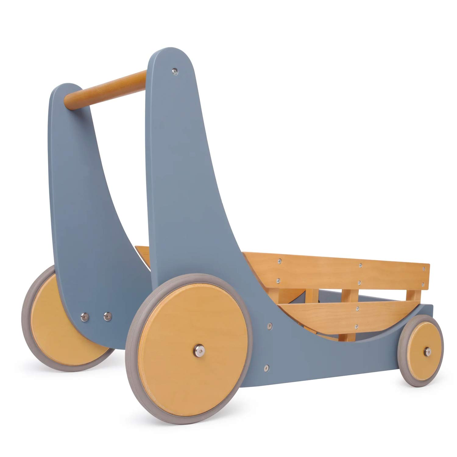 Kinderfeets 3626 2-in-1 Wooden Cargo Walker Wagon for Children and Toddlers with Rubber Wheels, Blue