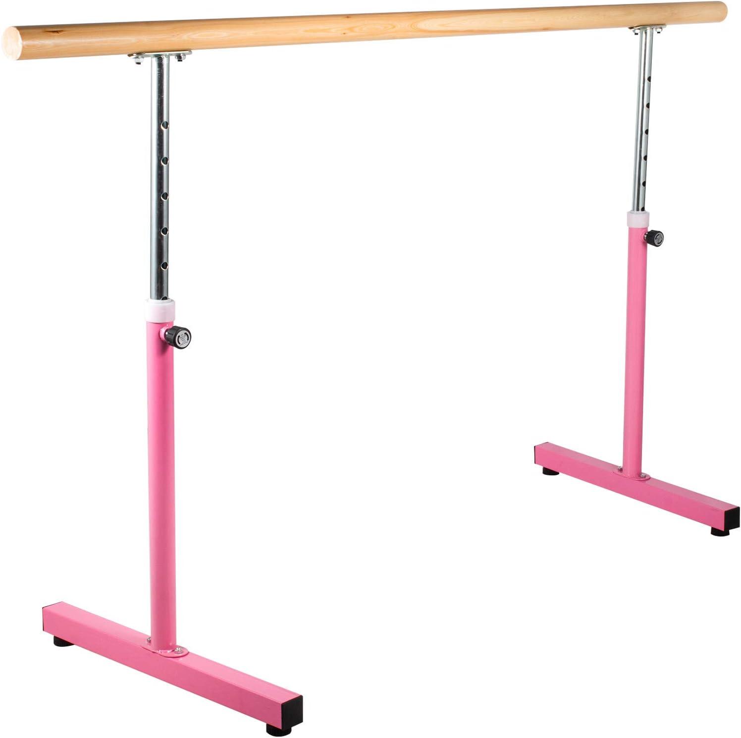 4Ft Single Bar Freestanding Ballet Barre Durable Pine Steel Exercise Stretch