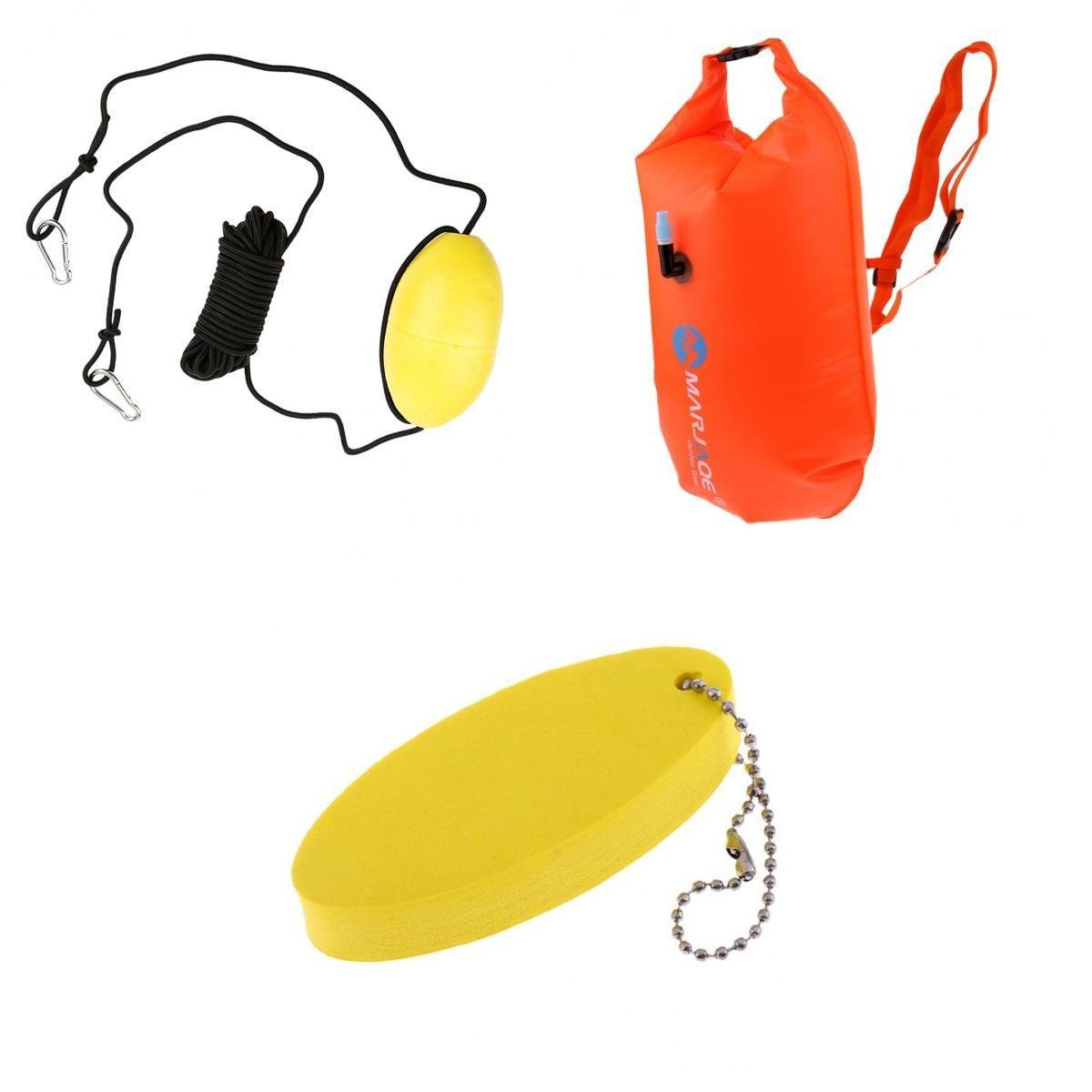 MagiDeal High Visibility Waterproof Floating Dry Bag Pouch Kayak Tow Throw Rope Line Orange Yellow