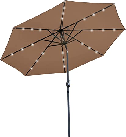 Amazon Com Super Deal 10 Ft Patio Umbrella Led Solar Power With Tilt Adjustment And Crank Lift System Perfect For Patio Garden Backyard Deck Poolside And More Solar Led Tan