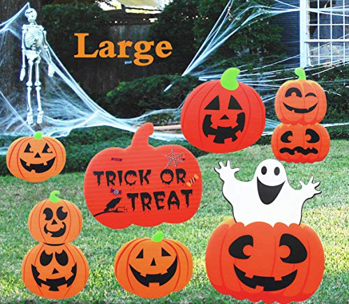 Supoice Halloween Decorations Outdoor 8 Pack Large Size Pumpkin Yard Sign Stakes for Halloween Party Outdoor Lawn Props