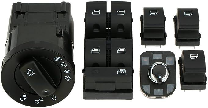 Docooler 6pcs OEM Car Headlight Control Electric Power Window Master Switch Rear View Mirror Adjust Knob Switch Control Kit for Audi A4 B6 B7 2002-2008