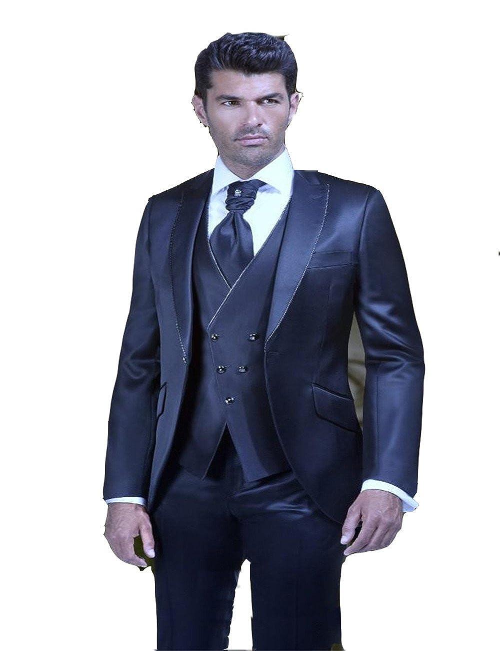 Groom Tuxedos Peak Lapel Men s Suit Navy Blue Groomsman Best Man Wedding Prom  Suits at Amazon Men s Clothing store  b0990e4fd66e