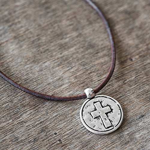 Handmade Brown Genuine Leather Necklace For Men Set With Stainless Steel Cross Pendant By Galis Jewelry - Cross Necklace For Men - Religious Necklace For Men - Christian Necklace For Men