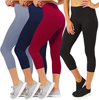 CAMPSNAIL Plus Size High Waisted Leggings for Women Yoga Pants Capri Leggings Compression Cropped Athletic Workout Leggings