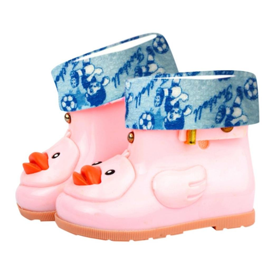 Toddler Baby Boy Girl Fashion Anti-Slip Warm Rain Shoes Durable Rubber Waterproof Boots Yellow Duck Water Shoes (Pink, US:8.5(Age:4-5T))