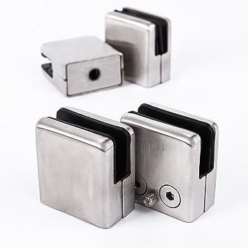 4 rectangular acero inoxidable Pinza de soporte para cristal ...