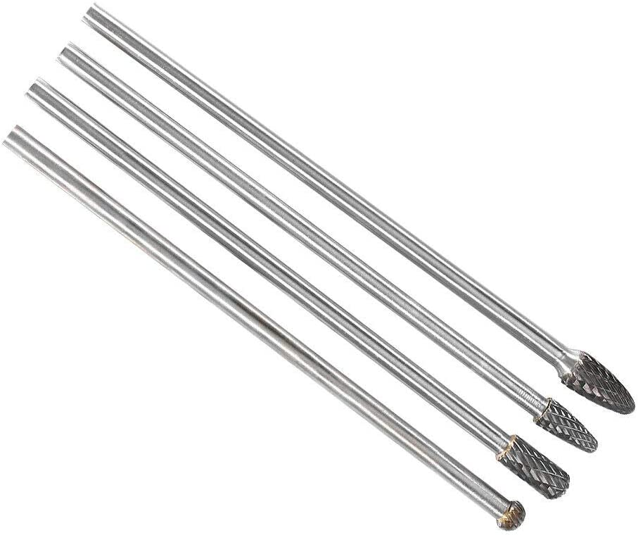 Set Of 4 Long Reach Double Cut Carbide For Rotary Burr Set For 1//4 Shank Polishing Bits Free Two E-books