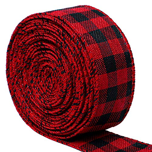 URATOT Red and Black Plaid Burlap Ribbon Christmas Wired Ribbon Wrapping Ribbon for Christmas Crafts Decoration, Floral Bows Craft, 236 by 1.5 Inch