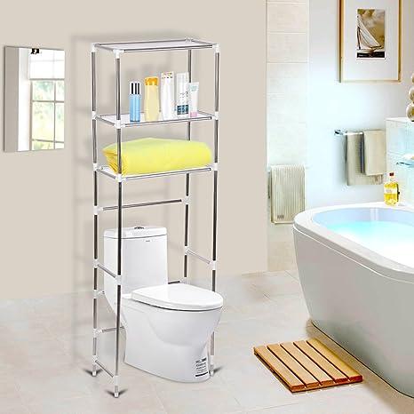 Ripiani da bagno con mensole sopra la toilette, con un ripiano ...