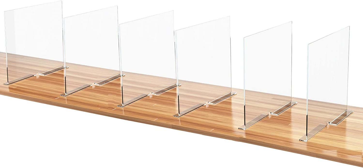 Meteou Wood Shelf Dividers Set of 6 | Acrylic Clear Closet Separators Organizer for Home, Wardrobe, Cabinet, Pantry & Store, Showroom & Office Shelving Divider 11.8x10 in. Anti-Slip with Adhesive Tape