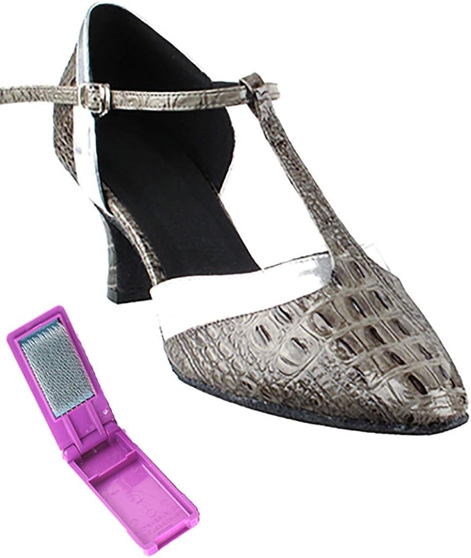 [Very Fine Dance Shoes] レディース グレー Croc-銀 Trim 6 B(M) US