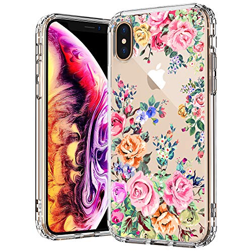 - MOSNOVO Flower iPhone Xs MAX Case, Rose Garden Flower Floral Printed Clear Design Transparent Plastic Back Case with TPU Bumper Gel Protective Case Cover for iPhone Xs MAX