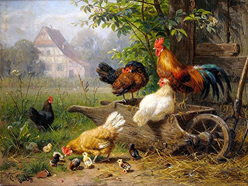 Farm Rooster Chickens by Carl Jutz Accent Tile Mural Kitchen Bathroom Wall Backsplash Behind Stove Range Sink Splashback One Tile 10