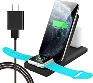 [Latest 2020] Wireless Charger 3 in 1 Charging Station for Apple Watch and Airpods Qi Fast Wireless Charger Stand Compatible iPhone 11/11 Pro/X/XS/XR/Xs Max/8 Compatible Apple IWatch SE/6/5/4/3/2/1