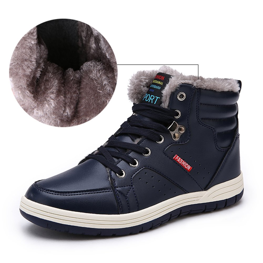 Aliwendy Mens Winter Snow Boots Fur Lined Waterproof Warm Sneaker Non-Slip High Top Outdoor Shoes (Blue 9.5D(M) US)