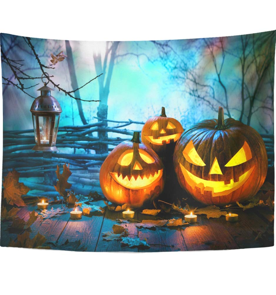 Emvency 60''x80'' Indian Tapestry Mandala Hippie Wall hangings Blue Fun Halloween Pumpkins On Wood in Front of Nightly Spooky Forest Orange Night Home Decor Tapestries for Bedroom