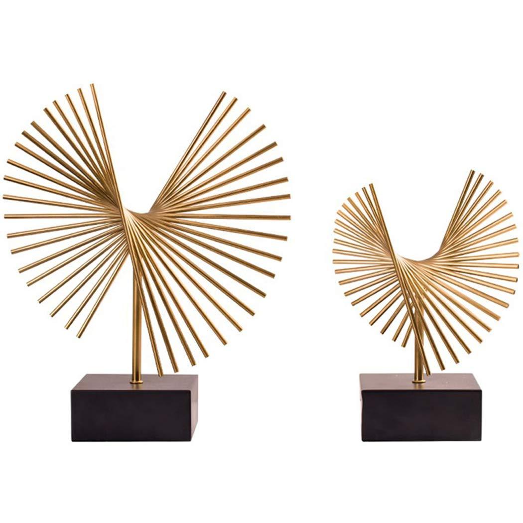 ヨーロッパスタイルのリビングルームの装飾装飾品現代ホームモデルルームポーチテレビキャビネット工芸金属セクター装飾2ピース,Gold B07R4NK9C4 Gold