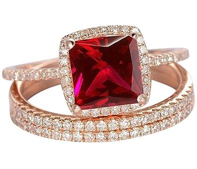 Amazon Com Limited Time Sale 1 50 Carat Red Ruby Princess Cut