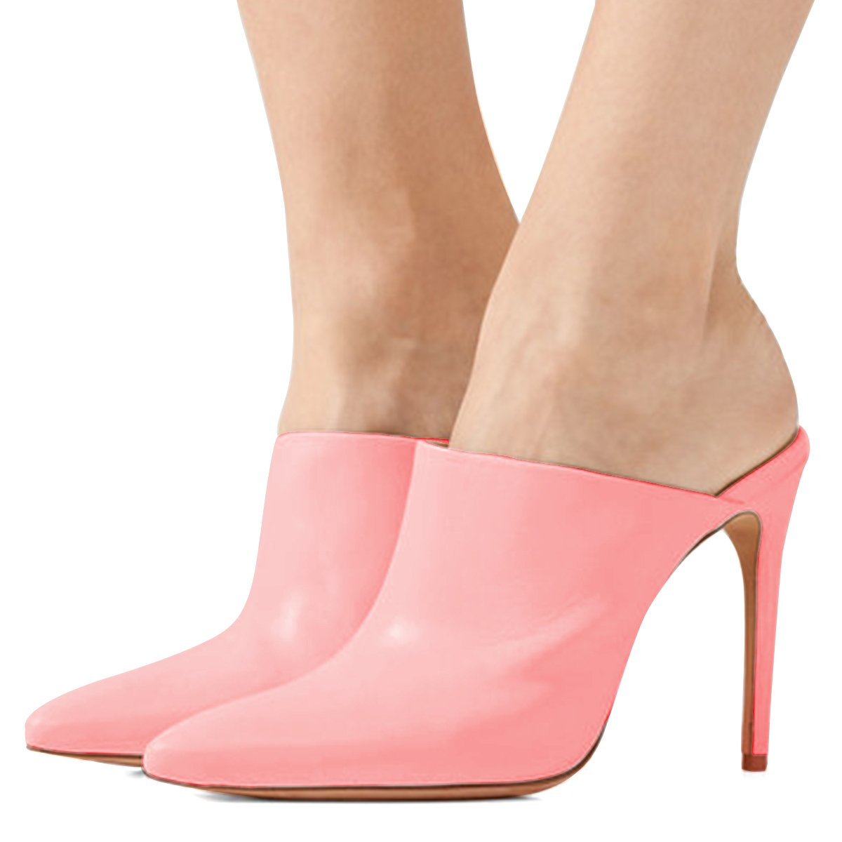 FSJ Women Slip On Closed Toe Mules Faux Suede Sandals Stiletto High Heels Classic Shoes Size 10 Pink