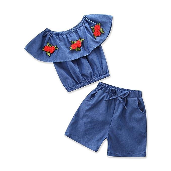 e2dc06eb3 Samgami Bebe Niña Traje Verano Rejilla Tops Cintura elástica vaqueros  pantalones bebé conjunto de ropa,