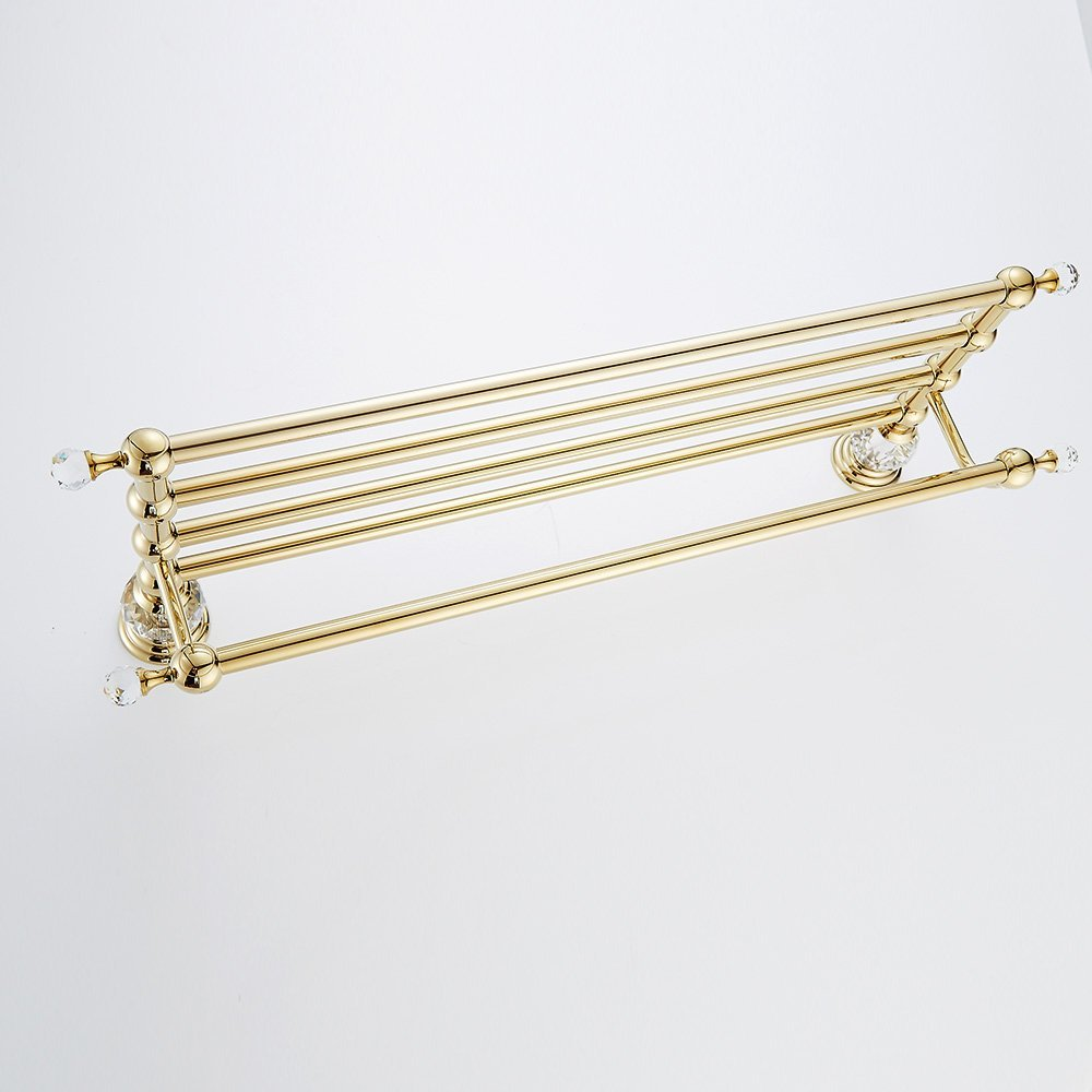 AUSWIND Antique Gold Brass&Crystal ToweL Rack Wall Mounted Bathroom Accessory 23 inch XH by AUSWIND (Image #6)