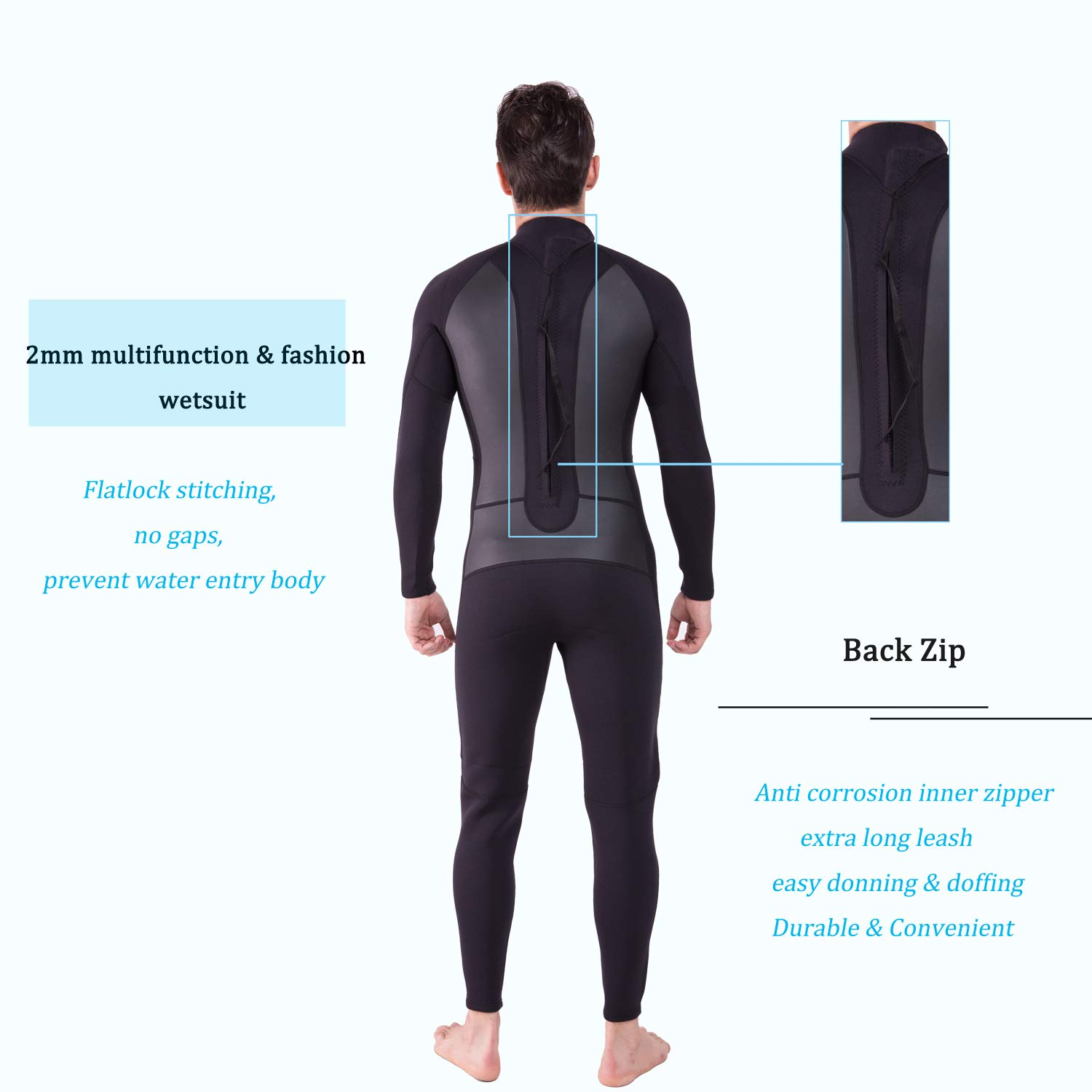 Realon Wetsuit Men Full 2mm Surfing Suit Diving Snorkeling Swimming Jumpsuit (2mm Black, Medium) by Realon (Image #4)