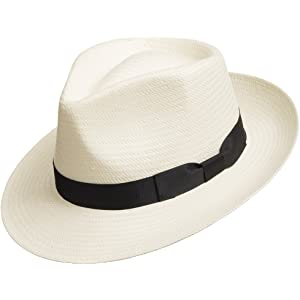 99dae284c57f7 Ultrafino Fedora GULLPORT Reward Classic Straw Panama Hat Exotic Feather