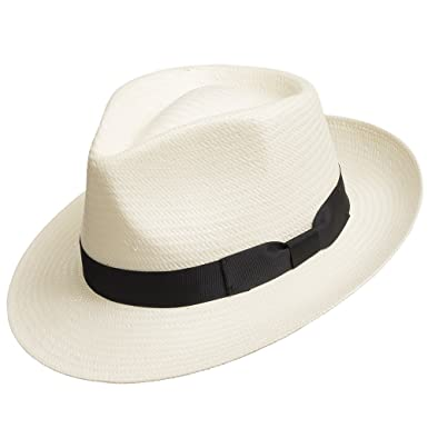 e1feec8489585 Fedora GULLPORT Reward Classic Straw Panama Hat Exotic Feather Ivory 6 7 8